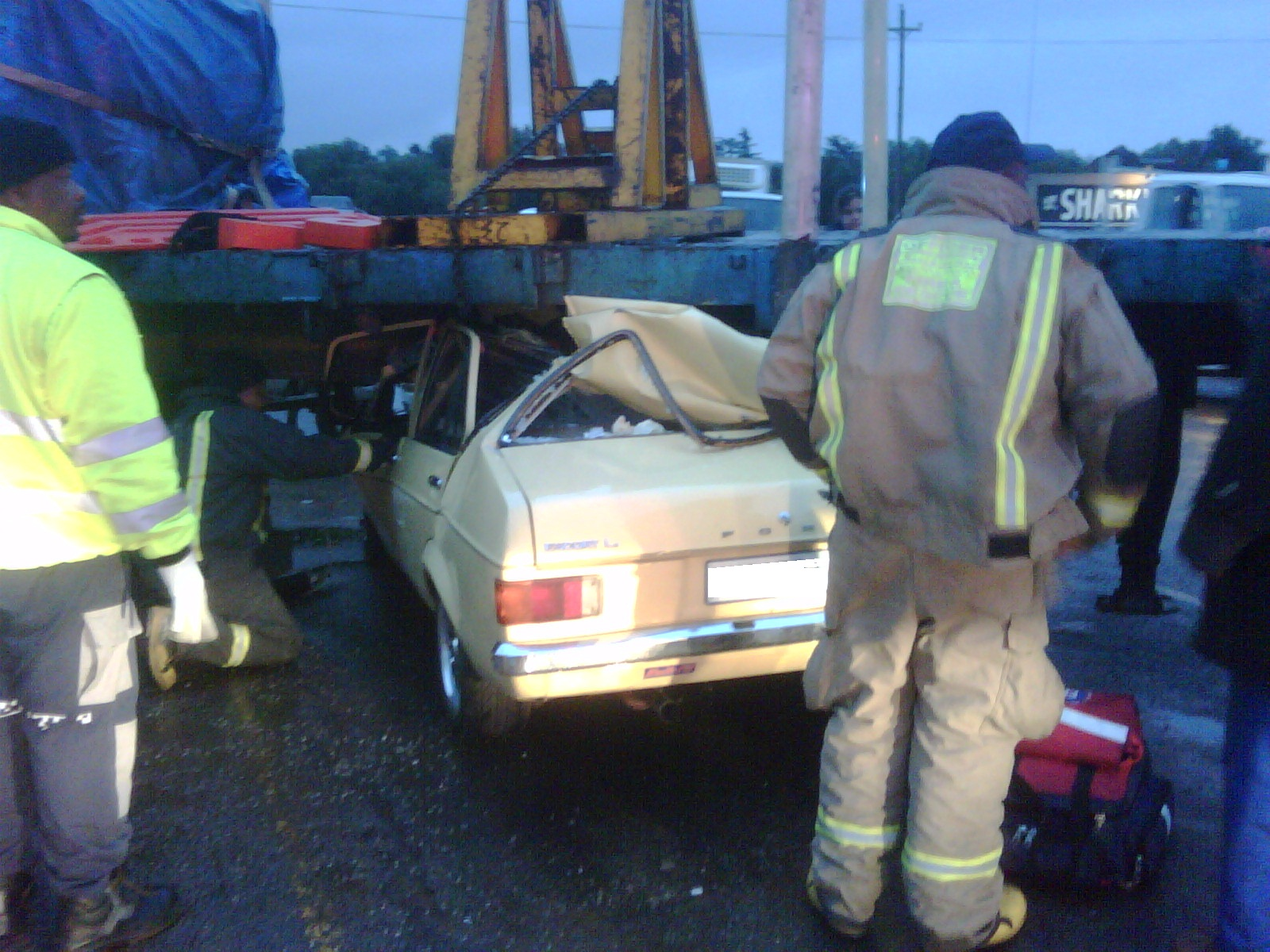 Trucks Under 20000 >> Car Crushed Under Truck as truck experiences technical difficulties | Road Safety & Arrive Alive ...