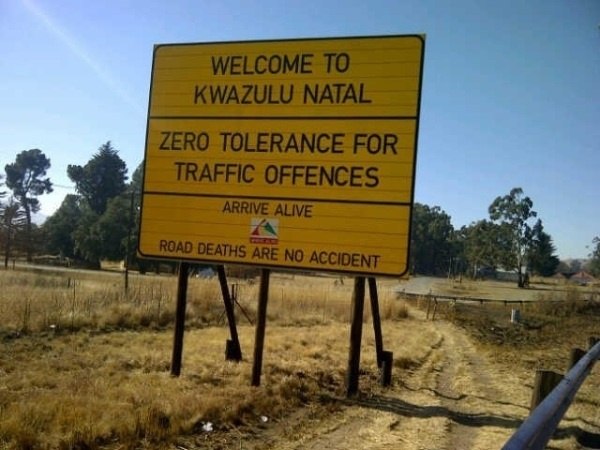 Arrive Alive sign KZN