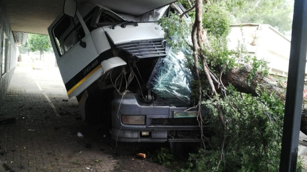 One critical, three injured in truck collision
