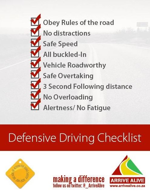 Arrive alive tweet checklist