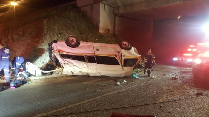 3 people killed and multiple others injured when a taxi crashed off a bridge in Constantia Kloof